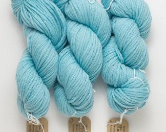 Bulky Blue Merino Yarn, Robins Egg Blue Recycled Merino Yarn, 98 Yards Available