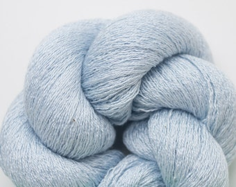 Sea Breeze Blue Silk Cotton Cashmere Recycled Lace Weight Yarn, SCC00182