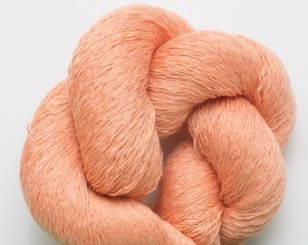 Silk Cotton Yarn, Cantaloupe Silk Cotton Recycled Fine Lace Weight Yarn, 1775 Yards Available