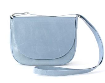 Saddle Bag Light Blue, Leather Crossbody Bag, Minimalistic Shoulder Bag Serenity, Sky Blue Leather Purse