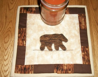 Candle Mat Mug Rug Quilted Bear Lodge Rustic Cabin Decor