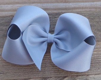 Silver/Light Grey Boutique Hair Bow~XL Boutique Hair Bow~Basic Hair Bow~Boutique Hairbow~Solid Color Hair Bows~Simple Boutique Bow~Big Bows