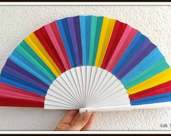 Bright Rainbow Colors Wooden Folding Hand Fan SIZE OPTIONS by Kate Dengra Spain Ideal Festival Concert Hippie