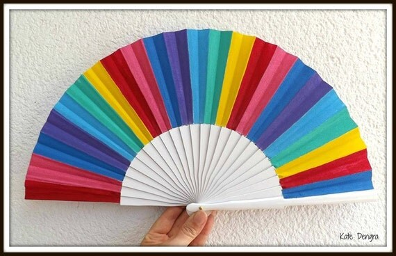 Bright Rainbow Hand Fan
