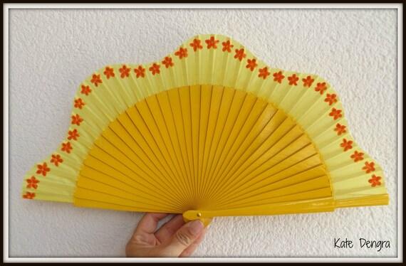 Citrus Flower Scallop Fabric Hand Fan Wood Folding Fan Handheld Fan MTO Made to Order