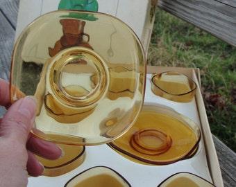 Vintage Vereco Amber Mocha cups set of six in original box 1960s