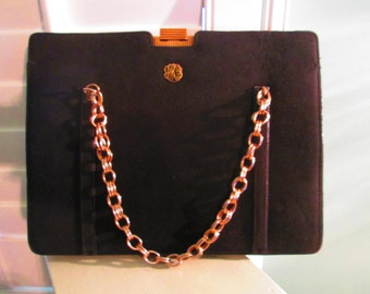 1960s Black Suede Henri Betrix Evening Handbag Gold Chain Stunning Elegant