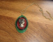 vintage necklace goldtone chain enamel metal cameo style pendant sarah coventry