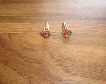 vintage pair cufflinks cuff links red blue enamel knot goldtone