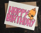 happy birthday bear greeting card, bear birthday card, cute birthday card