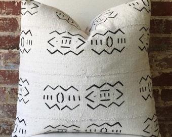 Alabaster Mud Cloth Pillow w/ down insert - #2