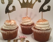 Princess crown and number 2  themed cupcake toppers in glittery gold . Cupcake decor for princess party.