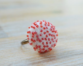Red and White Polka Dot Ring - Needle Felted White Ring With Red Glass Beads