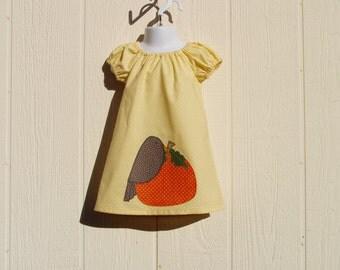 Fall Pumpkin Appliqued Peasant Dress Size 24 Months