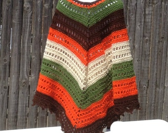 Poncho Shawl Hand Crocheted Wrap Hippie Bogo Poncho Retro Vintage Ready to Ship