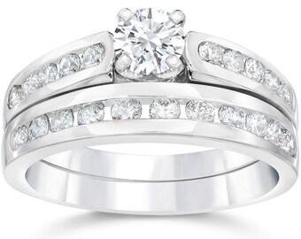 Diamond Engagement Rings, Matching Engagement Ring Set, 1.40 ct White Gold Solitaire Diamond Engagement Ring, Channel Set Diamond Rings