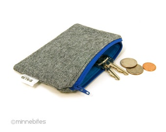 Men's Blue Zip Pouch - Credit Card Case - Coin Pouch for Men - Guys Zipper Wallet - Key Pouch - Gray Fabric Coin Pouch - Ready to Ship