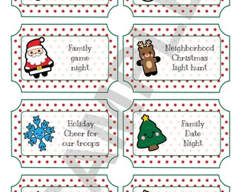 Christmas Advent Calendar Ticket Tags Labels DIY Gift Book Scrapbook Printables