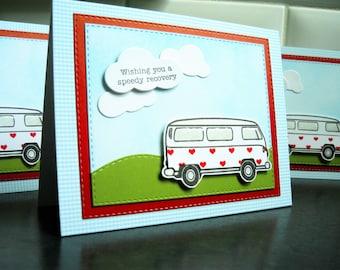 Get Well Card, Feel Better Soon Card, VW Van Card, Speedy Recovery Card,