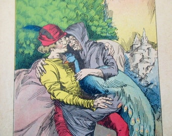 original page - color- 1920s book - castle, peacock