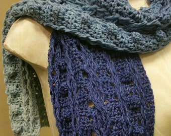Denim Merino and Silk Blend Gradient Cabled Scarf