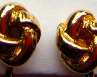 Gold Tone Love Knot Clip Earrings, Dainty Vintage Jewelry