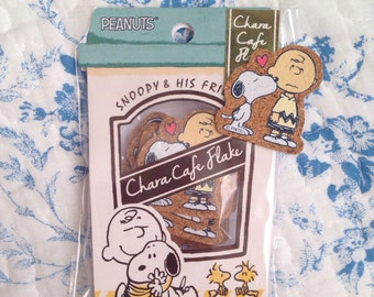 NEW 12 small cork sticker flakes Snoopy A