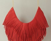 Coral Red Leather Fringe Necklace