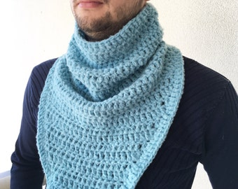 Mens Scarf / Crochet Scarf / Men Cowl Scarf / Chunky Scarf / Circle Cowl Neck warmer / Knit Scarf / Crochet Cowl
