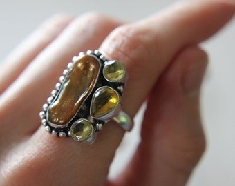 Citrine and Mother of Pearl Ring, Hand-forged, Valentines