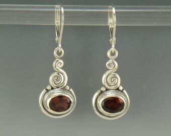 ER584-  Sterling Silver Garnet Earrings- One of a Kind