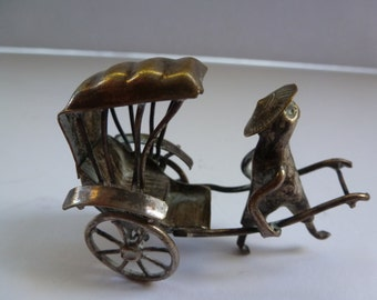 Vintage Silver Plated Rickshaw Tiny Miniature Articulated Rickshaw Chinese Import