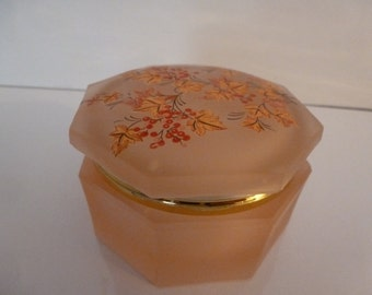 Pink Glass Jewelry Box Vintage Pink Glass Jewelry Box or Trinket Box with a Lid