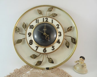 Mid Century Brass Enamel Clock United Clock Corp. Electric Wall Clock Made in the U.S.A.