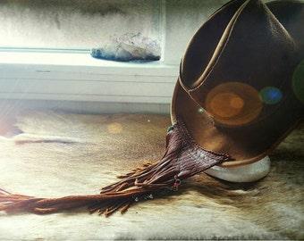 Vintage brown leather Skully brand American made upcylced fringe Bohemian hat