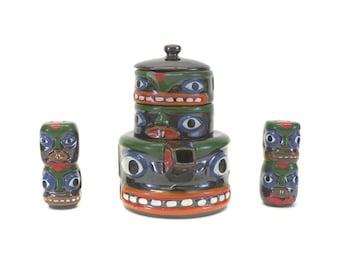 Vintage Stacking Tiki God 6 Piece Tea Set (E7520)