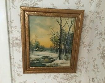 Vintage Winter Cabin And River Print Gold Wood Frame