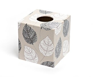 Silver Leaf Tissue Box Cover