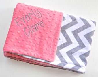 Monogrammed Chevron Baby Blanket - Minky Gray and Coral Peach Personalized - zig zag