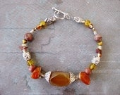 Fire agate silver bracelet, silver fire agate, jasper, gold crystal beaded necklace