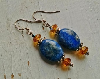 Lapis dangle earrings, lapis lazul dangle earrings with silver and gold crystal