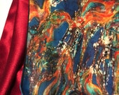 "Horse scarf  - ""Horses From the Sky""   -  Large Silky faille scarf -    from original batik -"