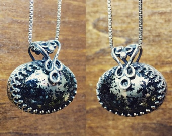 Norwegian pyrite in onyx set in sterling silver pendant