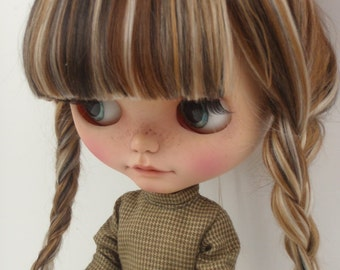 Ready to ship/Doll hair/ Hair Blythe doll/nature alcap black/ligh blonde/brown/dark brown/ scalp for Blythe Doll 6-7inches