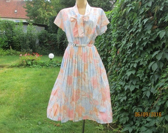 Pleated Dress / Pastel Dress / Small Size Dress / Summer Dress / Elastic Waist / Size EUR40 / UK12 / Never Worn