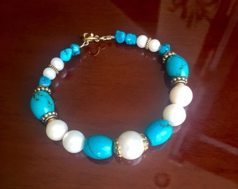 Turquoise and Pearl Bracelet with Gold Bali Beads