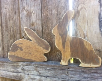 Set of 2 wood stained rabbitts