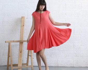 Full Skater Dress-Midi Dress-Coral.