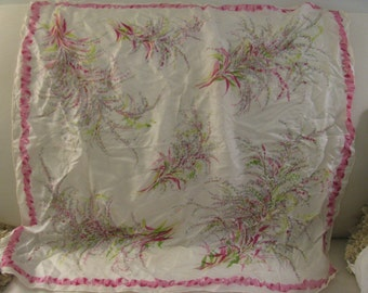 Exquisite large French silk scarf with lilac ribbon and airy woodland botanical motif