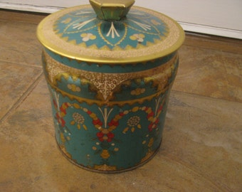 Murray Allen type made in England  tin Turquoise and gold